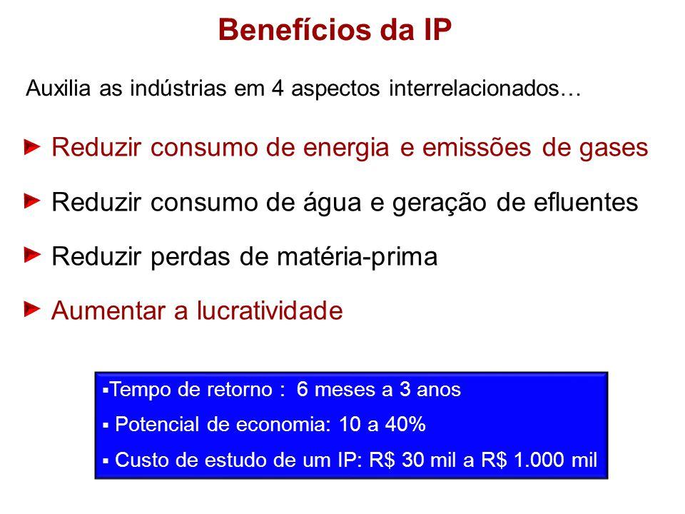 Benefícios da IP Reduzir consumo de energia e emissões de gases