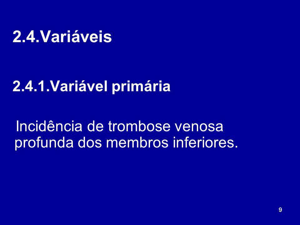 2.4.Variáveis 2.4.1.Variável primária