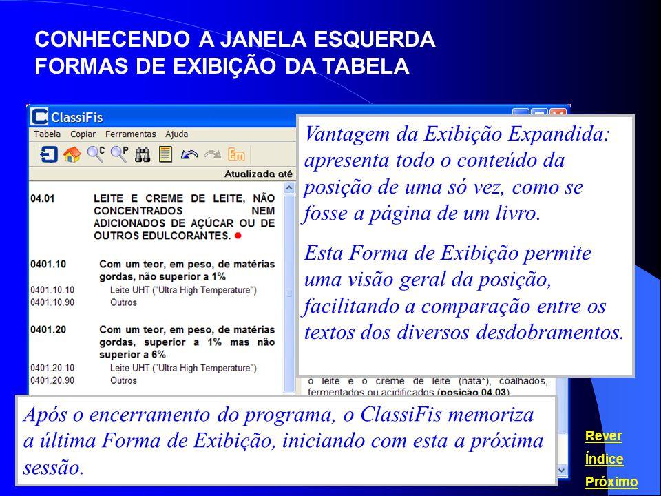 CONHECENDO A JANELA ESQUERDA FORMAS DE EXIBIÇÃO DA TABELA