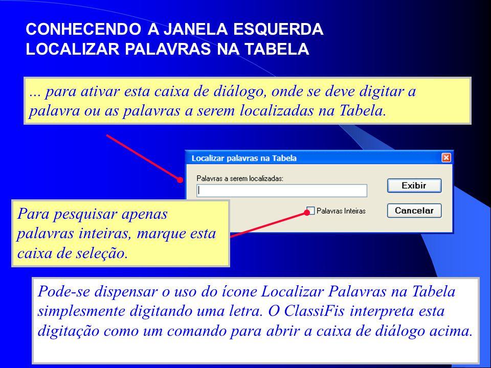 CONHECENDO A JANELA ESQUERDA LOCALIZAR PALAVRAS NA TABELA