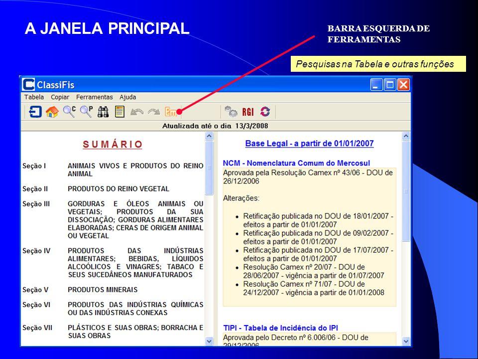 A JANELA PRINCIPAL BARRA ESQUERDA DE FERRAMENTAS
