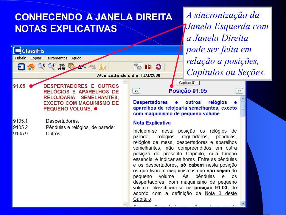 A sincronização da Janela Esquerda com a Janela Direita pode ser feita em relação a posições, Capítulos ou Seções.
