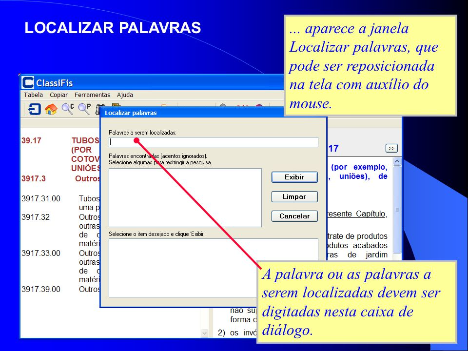 LOCALIZAR PALAVRAS ... aparece a janela Localizar palavras, que pode ser reposicionada na tela com auxílio do mouse.