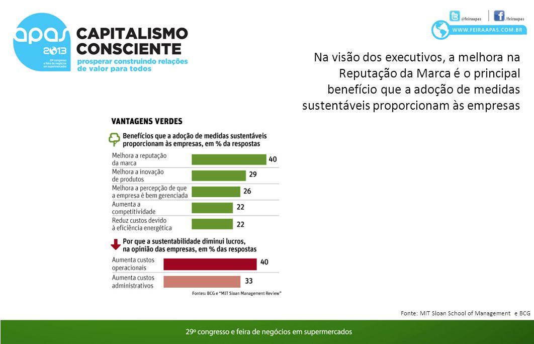 Na visão dos executivos, a melhora na Reputação da Marca é o principal benefício que a adoção de medidas sustentáveis proporcionam às empresas