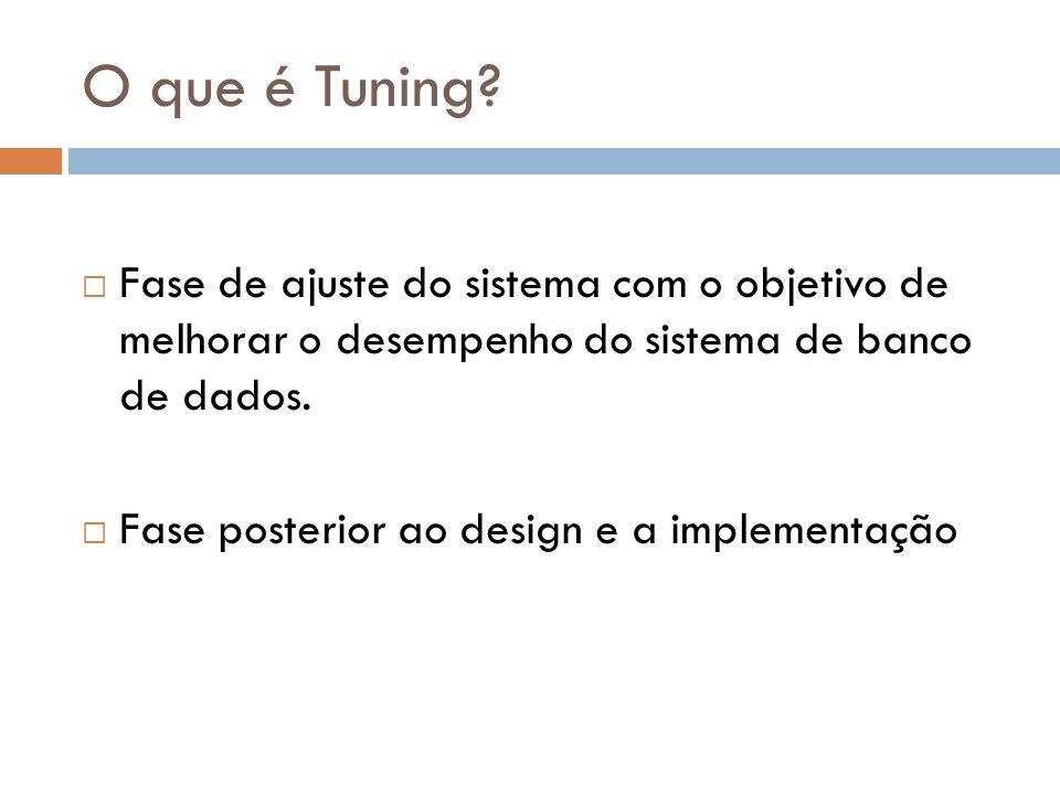 O que é Tuning Fase de ajuste do sistema com o objetivo de melhorar o desempenho do sistema de banco de dados.