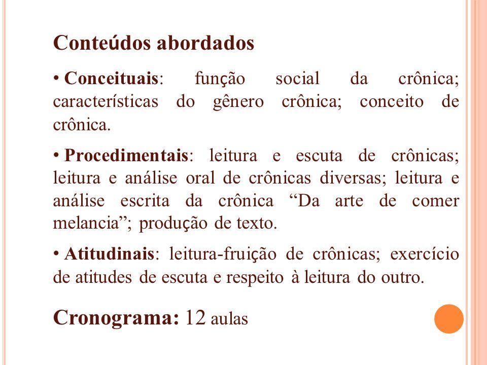 Conteúdos abordados Cronograma: 12 aulas