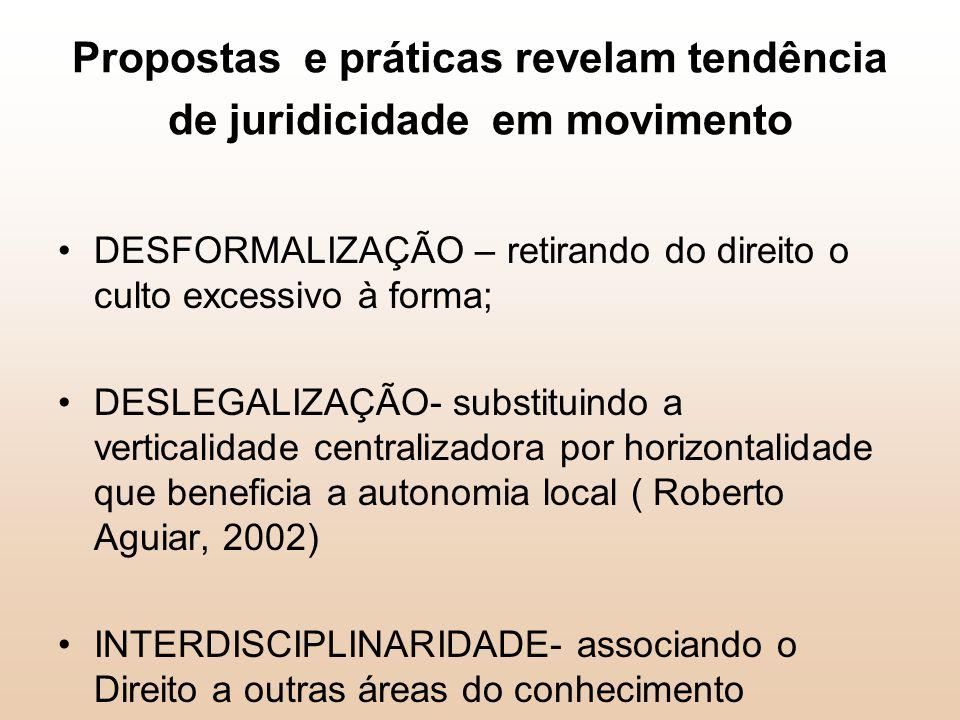 Propostas e práticas revelam tendência de juridicidade em movimento