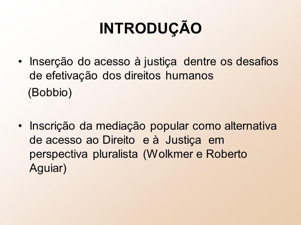 INTRODUÇÃO Inserção do acesso à justiça dentre os desafios de efetivação dos direitos humanos. (Bobbio)