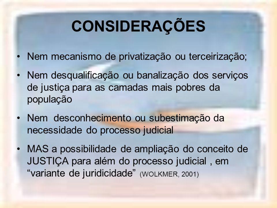 CONSIDERAÇÕES Nem mecanismo de privatização ou terceirização;