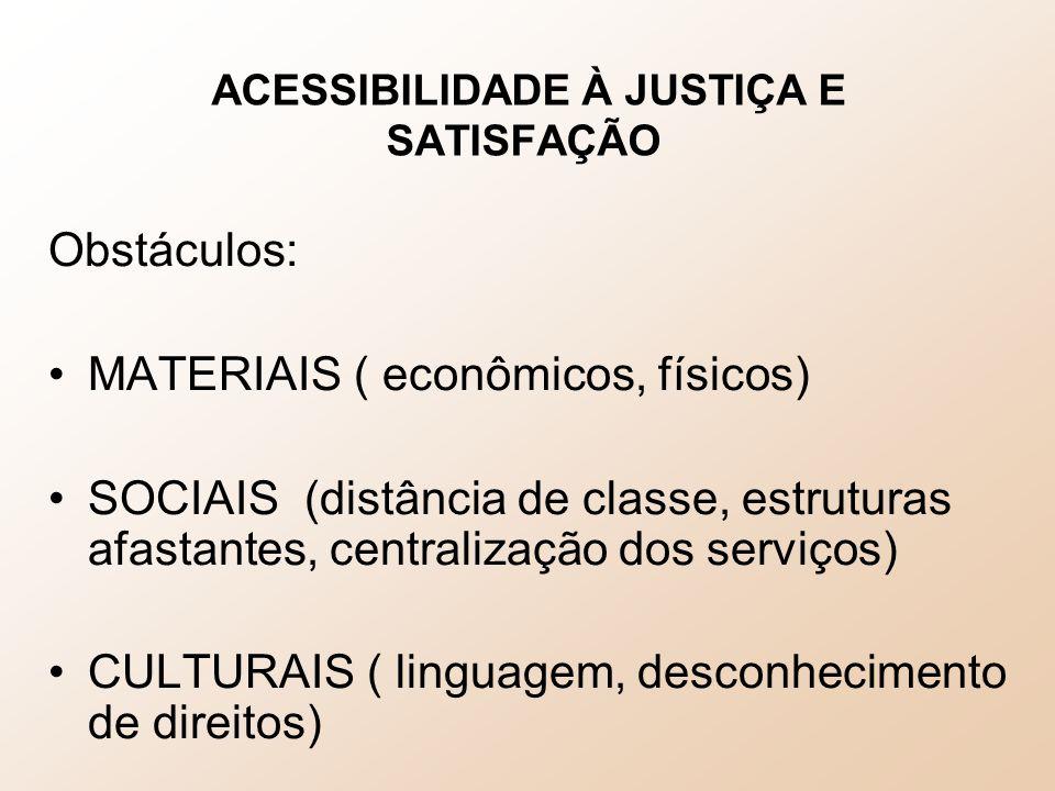 ACESSIBILIDADE À JUSTIÇA E SATISFAÇÃO