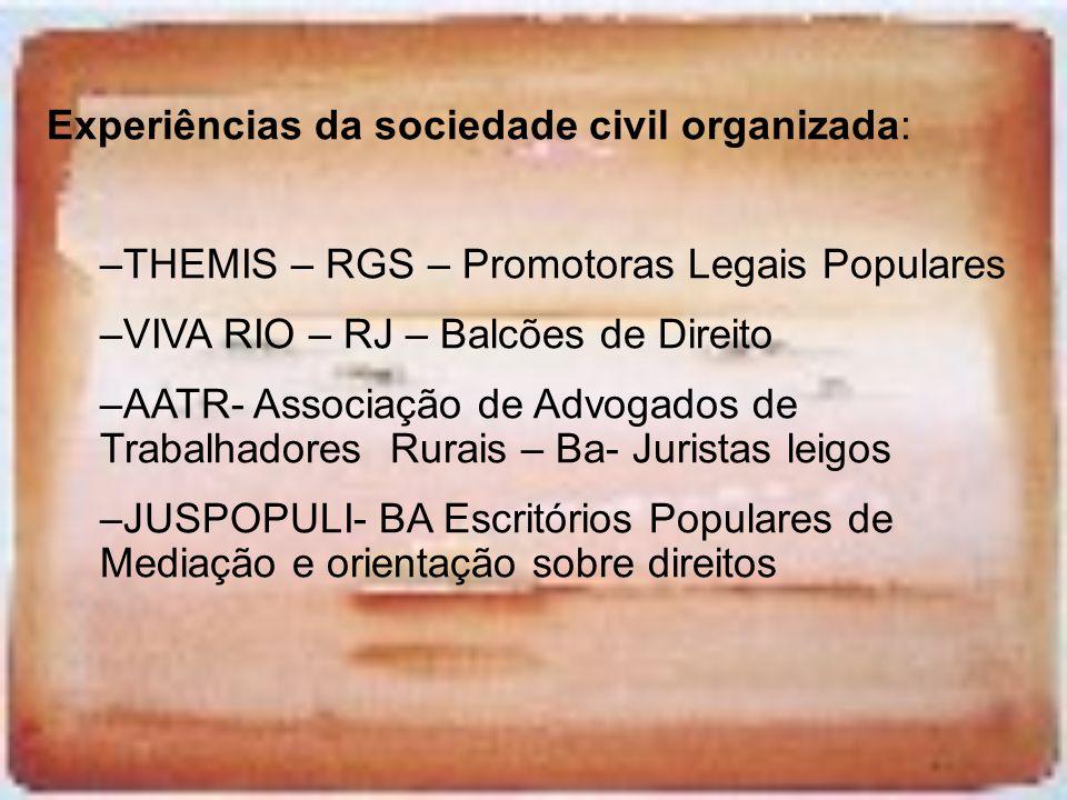 Experiências da sociedade civil organizada: