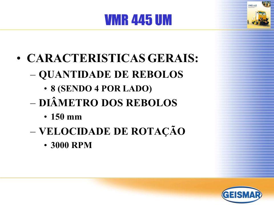 VMR 445 UM CARACTERISTICAS GERAIS: QUANTIDADE DE REBOLOS
