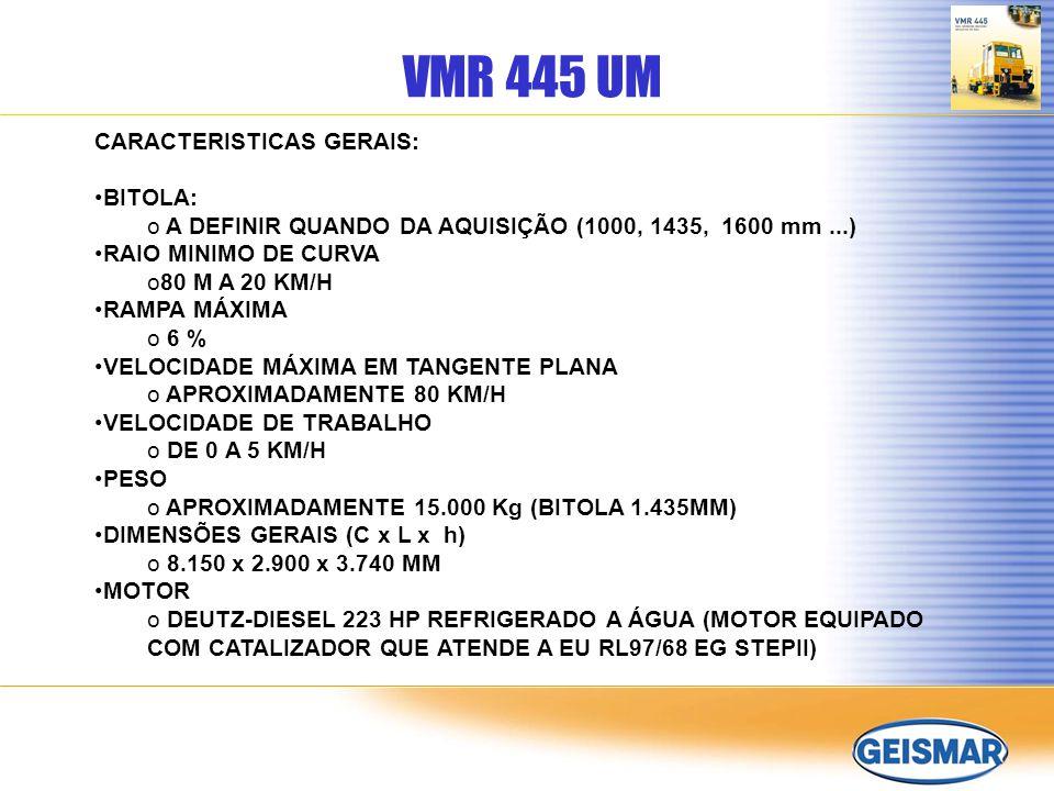 VMR 445 UM CARACTERISTICAS GERAIS: BITOLA:
