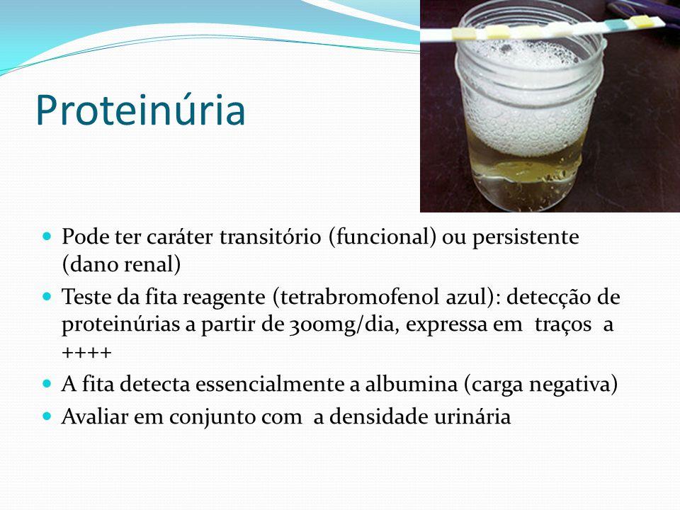 Proteinúria Pode ter caráter transitório (funcional) ou persistente (dano renal)