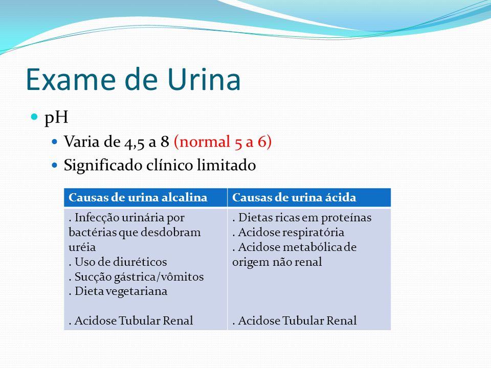 Exame de Urina pH Varia de 4,5 a 8 (normal 5 a 6)