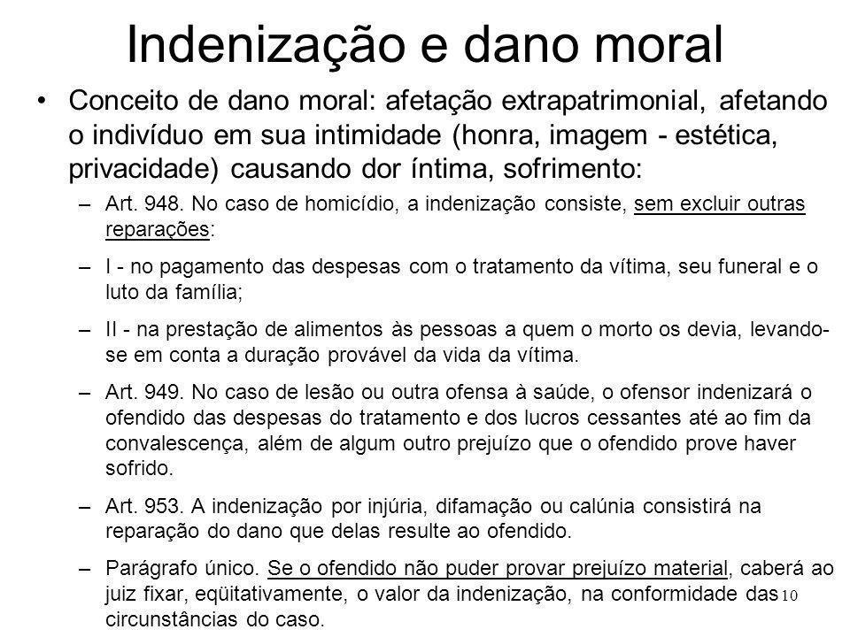 Indenização e dano moral