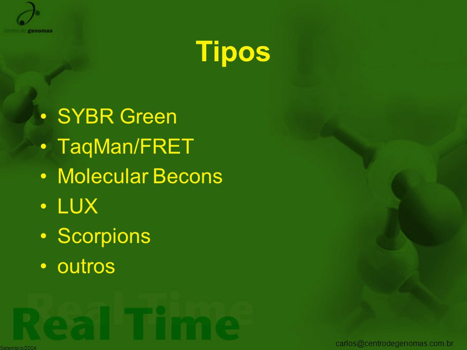 Tipos SYBR Green TaqMan/FRET Molecular Becons LUX Scorpions outros