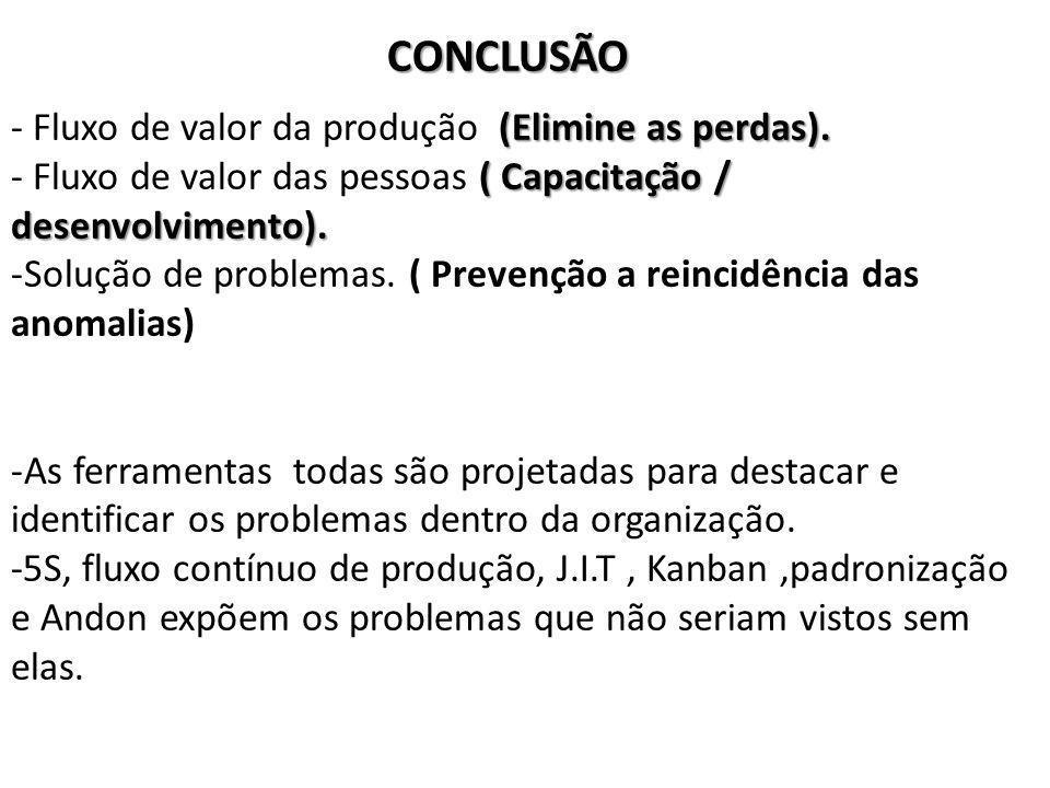 CONCLUSÃO - Fluxo de valor da produção (Elimine as perdas).