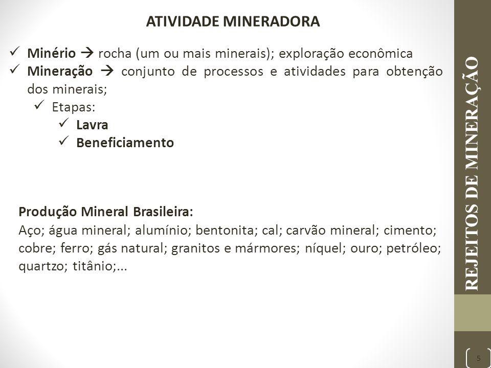REJEITOS DE MINERAÇÃO ATIVIDADE MINERADORA