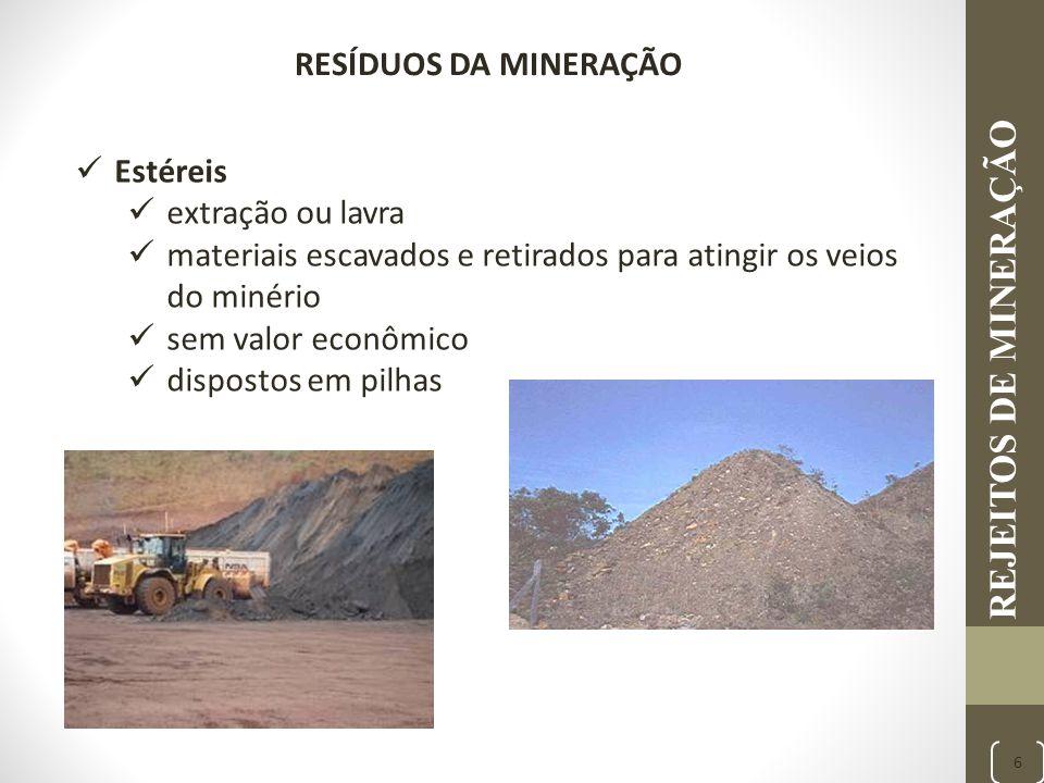 REJEITOS DE MINERAÇÃO RESÍDUOS DA MINERAÇÃO Estéreis extração ou lavra