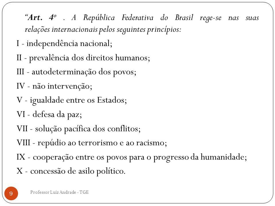 Art. 4o . A República Federativa do Brasil rege-se nas suas relações internacionais pelos seguintes princípios: I - independência nacional; II - prevalência dos direitos humanos; III - autodeterminação dos povos; IV - não intervenção; V - igualdade entre os Estados; VI - defesa da paz; VII - solução pacífica dos conflitos; VIII - repúdio ao terrorismo e ao racismo; IX - cooperação entre os povos para o progresso da humanidade; X - concessão de asilo político.