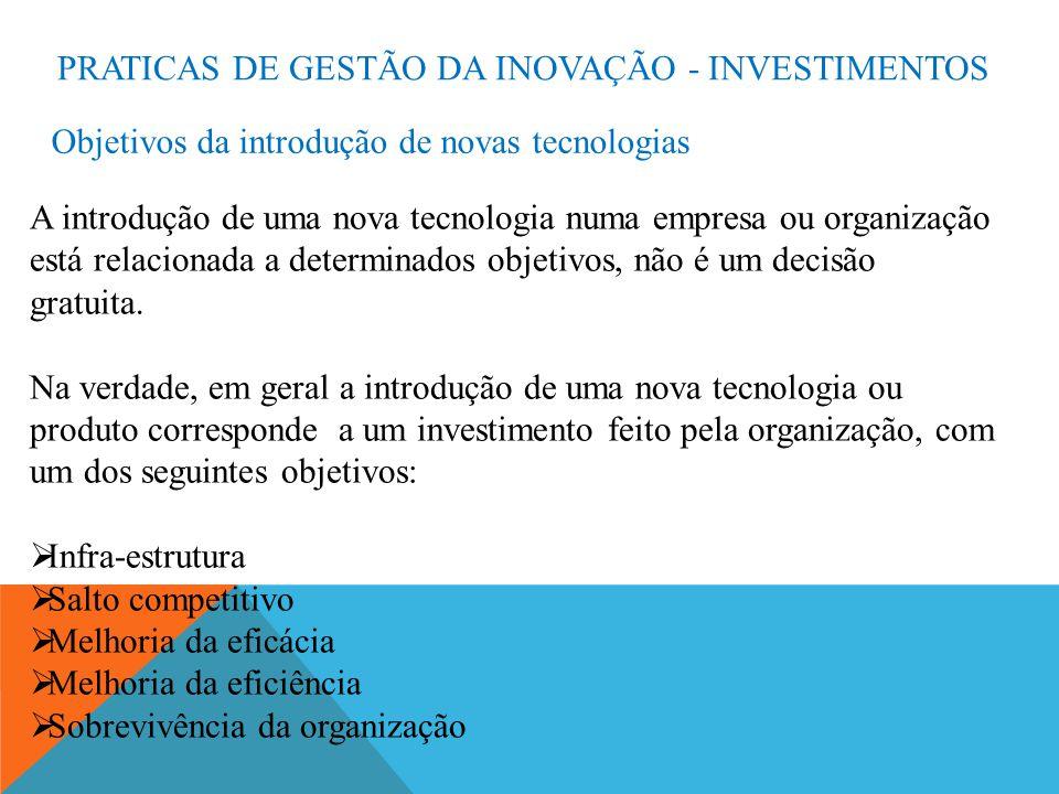 PRATICAS DE GESTÃO DA INOVAÇÃO - INVESTIMENTOS