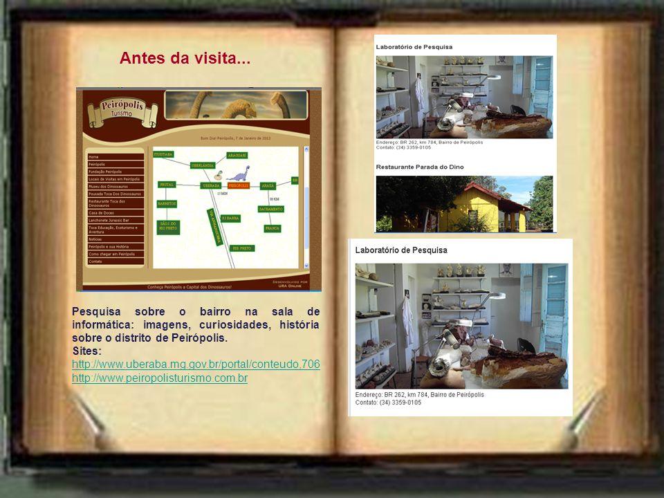 Antes da visita... Pesquisa sobre o bairro na sala de informática: imagens, curiosidades, história sobre o distrito de Peirópolis.