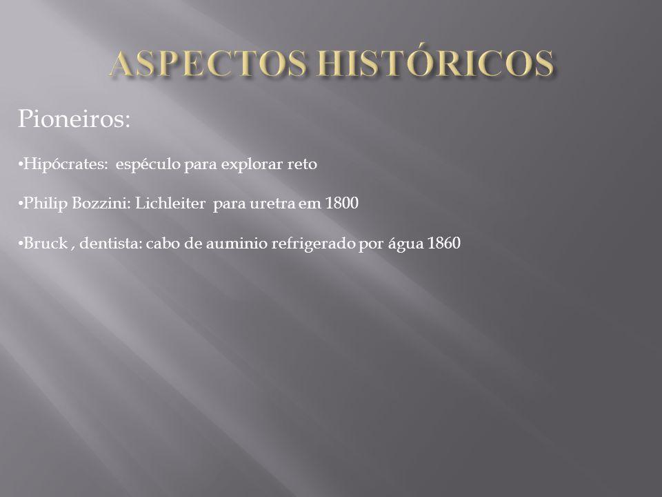 ASPECTOS HISTÓRICOS Pioneiros: Hipócrates: espéculo para explorar reto