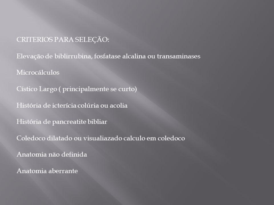 CRITERIOS PARA SELEÇÃO: