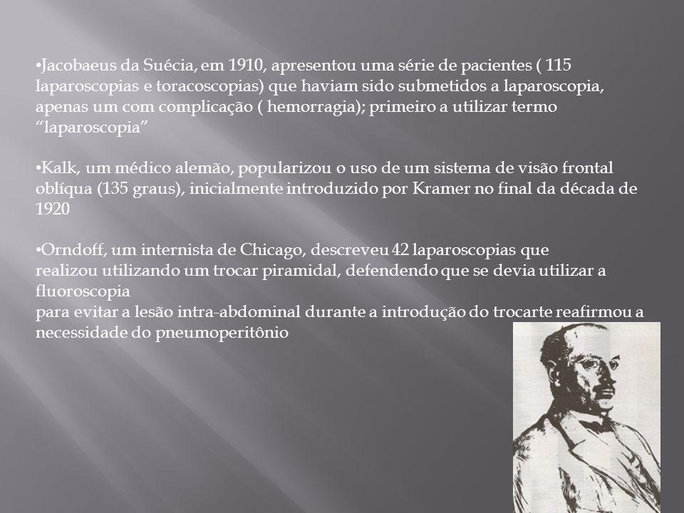 Jacobaeus da Suécia, em 1910, apresentou uma série de pacientes ( 115 laparoscopias e toracoscopias) que haviam sido submetidos a laparoscopia, apenas um com complicação ( hemorragia); primeiro a utilizar termo laparoscopia