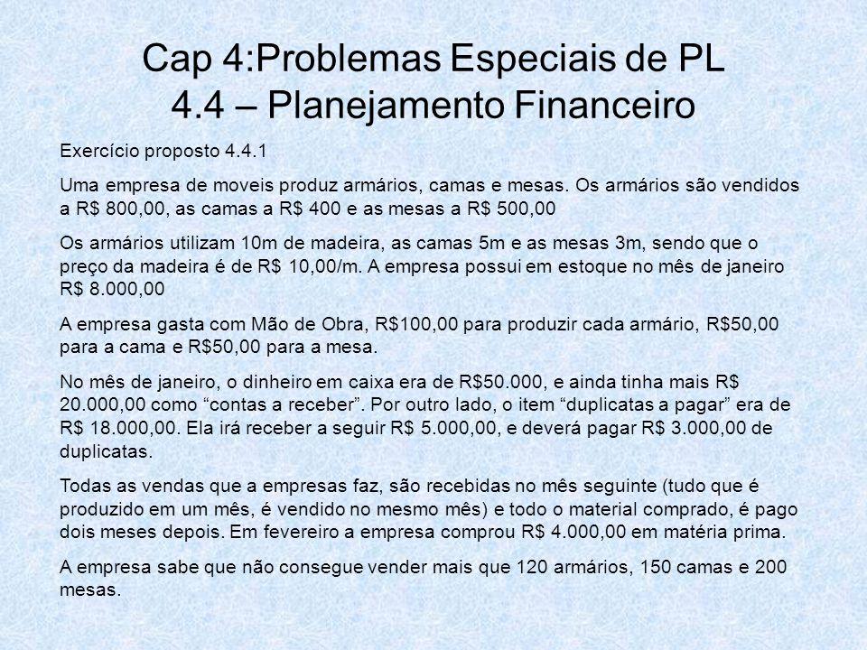Cap 4:Problemas Especiais de PL 4.4 – Planejamento Financeiro