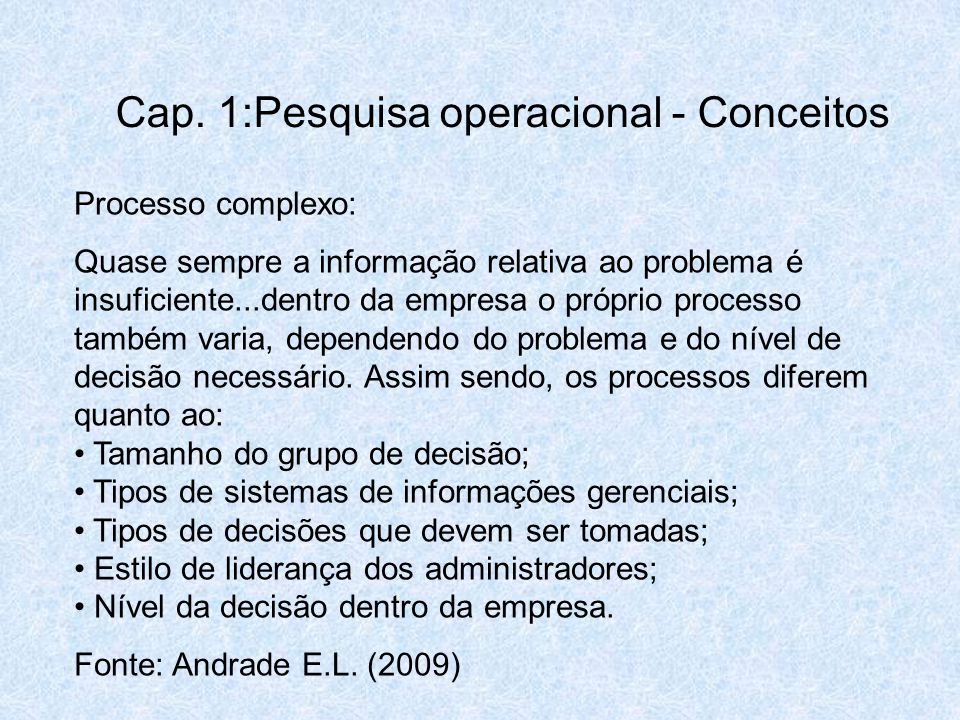 Cap. 1:Pesquisa operacional - Conceitos
