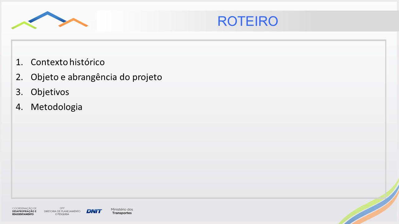 ROTEIRO Contexto histórico Objeto e abrangência do projeto Objetivos