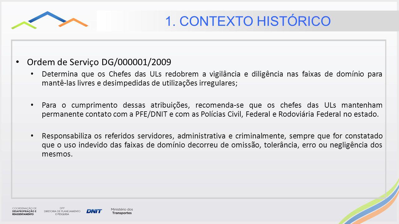 1. CONTEXTO HISTÓRICO Ordem de Serviço DG/000001/2009