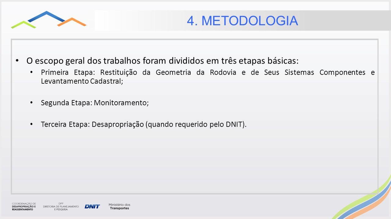 4. METODOLOGIA O escopo geral dos trabalhos foram divididos em três etapas básicas: