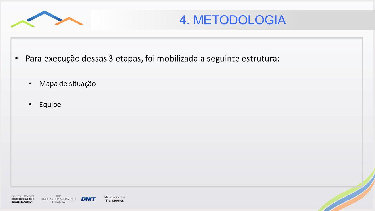 4. METODOLOGIA Para execução dessas 3 etapas, foi mobilizada a seguinte estrutura: Mapa de situação.