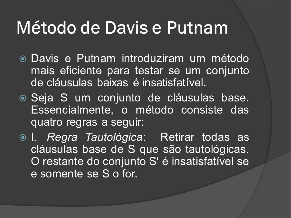 Método de Davis e Putnam