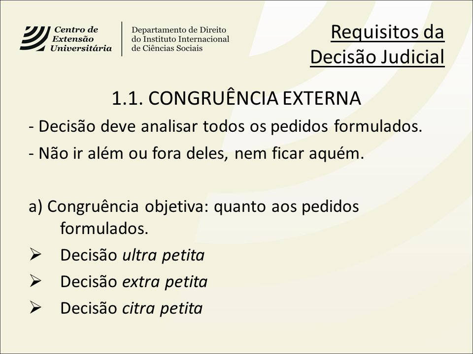 Requisitos da Decisão Judicial
