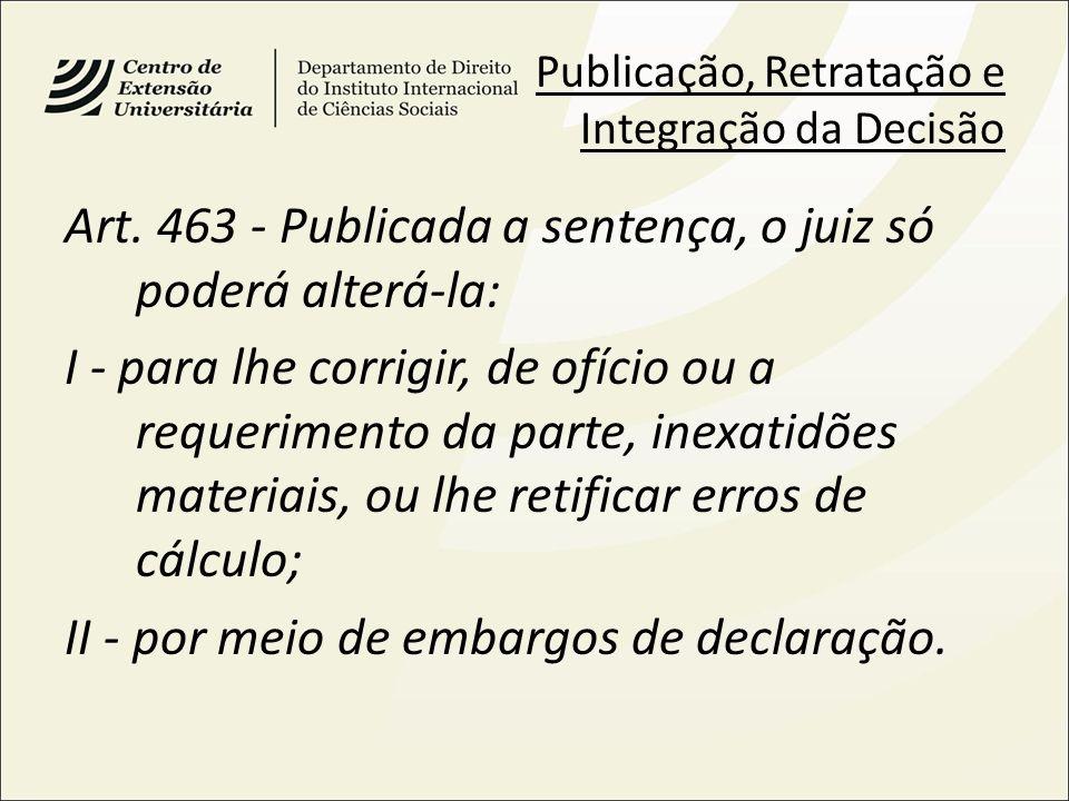 Art. 463 - Publicada a sentença, o juiz só poderá alterá-la: