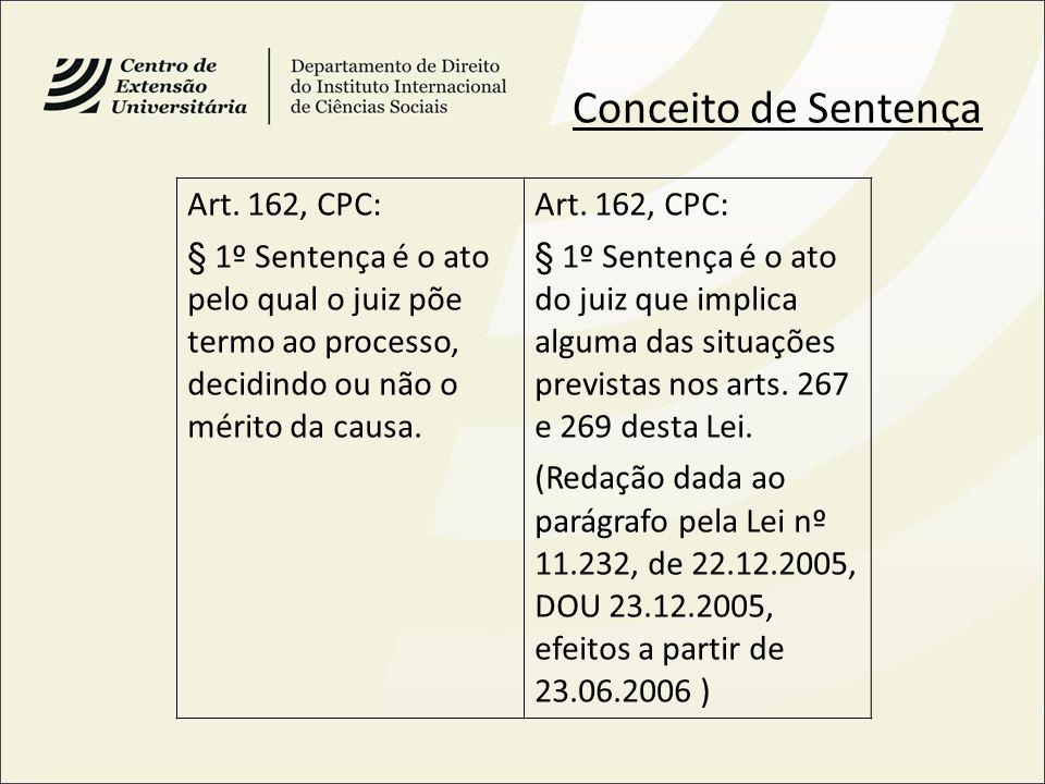 Conceito de Sentença Art. 162, CPC:
