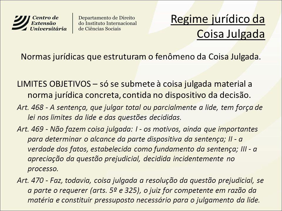 Normas jurídicas que estruturam o fenômeno da Coisa Julgada.