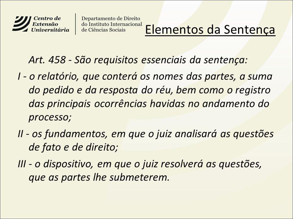 Elementos da Sentença Art. 458 - São requisitos essenciais da sentença:
