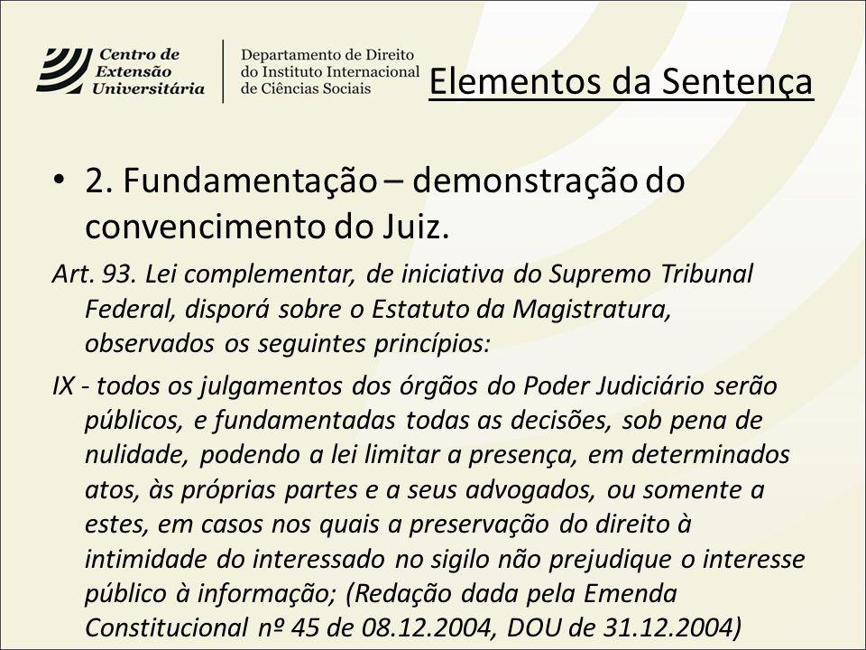Elementos da Sentença 2. Fundamentação – demonstração do convencimento do Juiz.