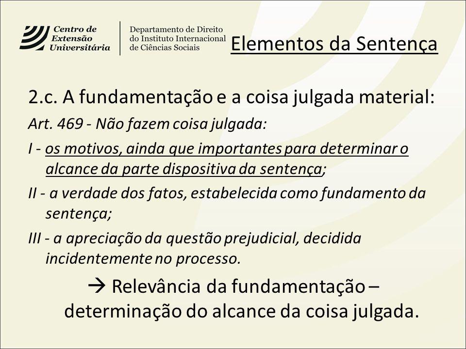 Elementos da Sentença 2.c. A fundamentação e a coisa julgada material: