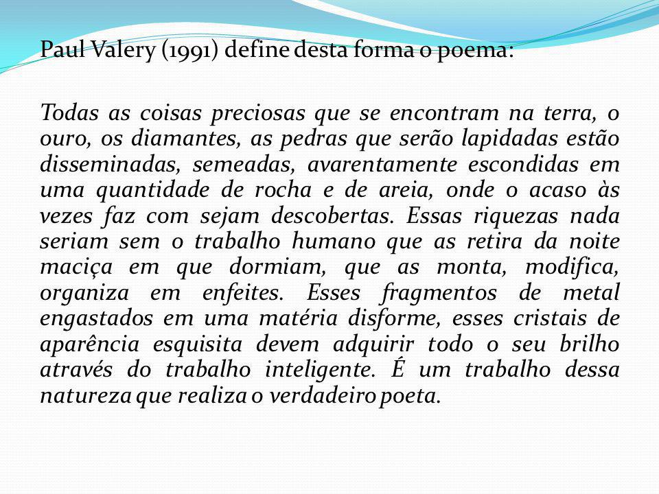 Paul Valery (1991) define desta forma o poema: