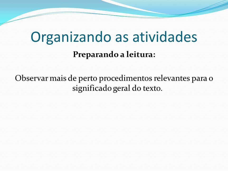 Organizando as atividades