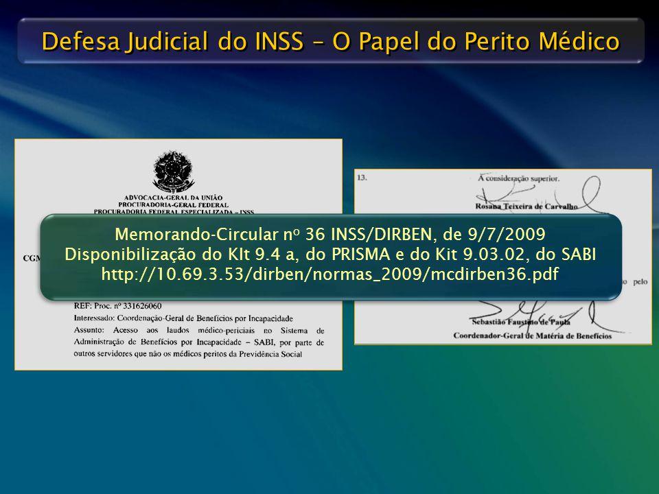Memorando-Circular no 36 INSS/DIRBEN, de 9/7/2009 Disponibilização do KIt 9.4 a, do PRISMA e do Kit 9.03.02, do SABI http://10.69.3.53/dirben/normas_2009/mcdirben36.pdf