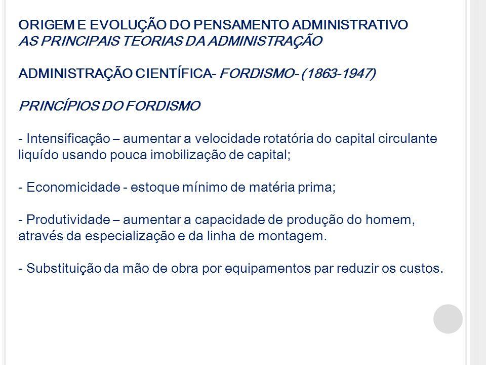 ORIGEM E EVOLUÇÃO DO PENSAMENTO ADMINISTRATIVO