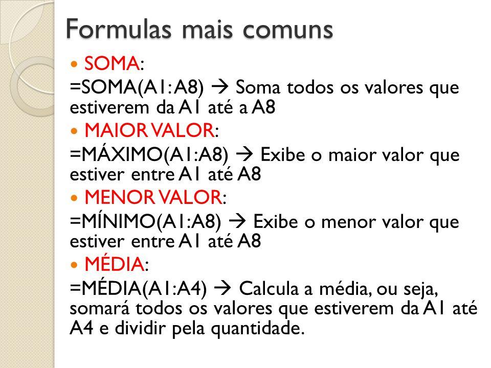 Formulas mais comuns SOMA: