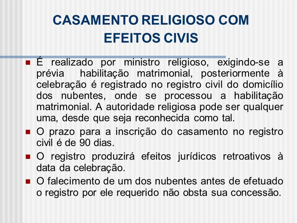 CASAMENTO RELIGIOSO COM EFEITOS CIVIS